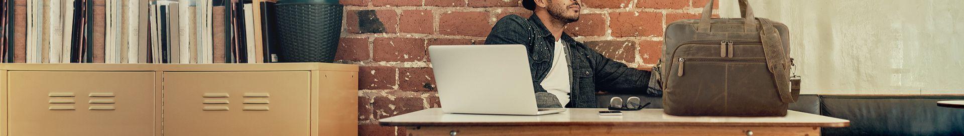 SID /& VAIN/® Borsa tracolla porta pc vera pelle SPENCER grande XL cartella laptop computer portatile 15 Messenger porta-documenti Universit/à Ufficio Business 15,4 pollici uomo cuoio nero